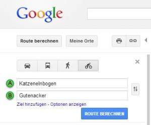 Fahrradrouten mit Google Maps